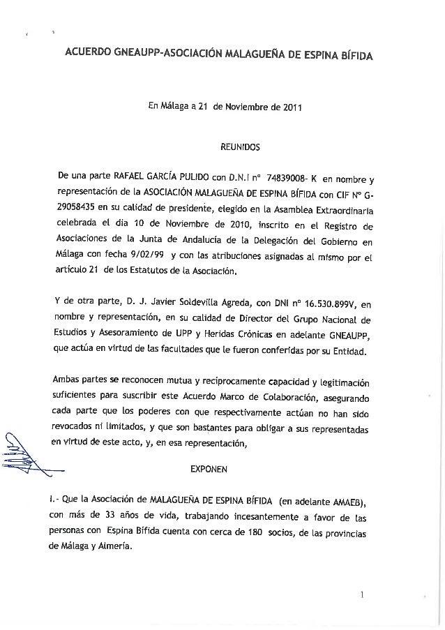 ACUERDO GNEAUPP-ASOCIACICN MALAGUENA DE ESPINA B| 'F IDA  En Málaga a 21 de Noviembre de 2011  REUNIDOS  De una parte RAFA...