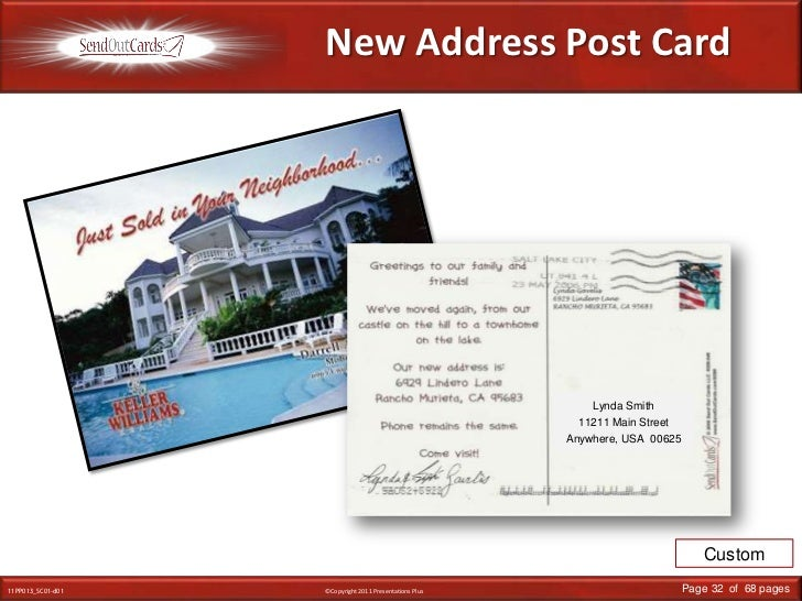 New Address Post Card<br />Lynda Smith<br />11211 Main Street<br />Anywhere, USA  00625<br />Custom<br />