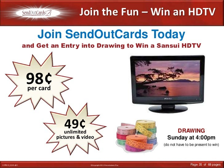 Join the Fun – Win an HDTV<br />and Get an Entry into Drawing to Win a Sansui HDTV<br />Join SendOutCards Today<br />98¢<b...