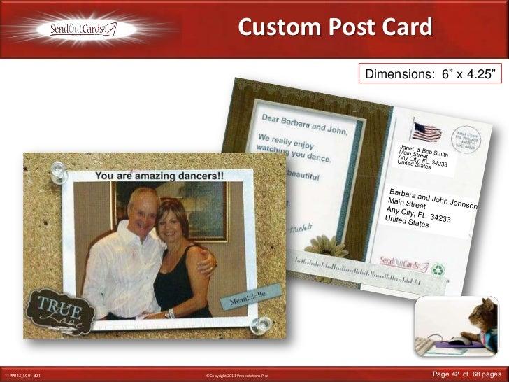 "Custom Post Card<br />Dimensions:  6"" x 4.25""<br />Janet  & Bob Smith<br />Main Street<br />Any City, FL  34233<br />Unite..."
