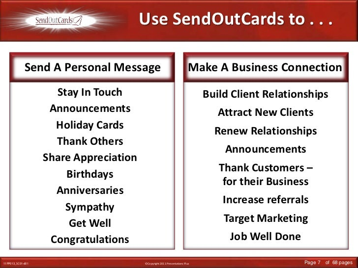Use SendOutCards to . . . <br />Send A Personal Message<br />Make A Business Connection<br />Stay In Touch<br />Announceme...