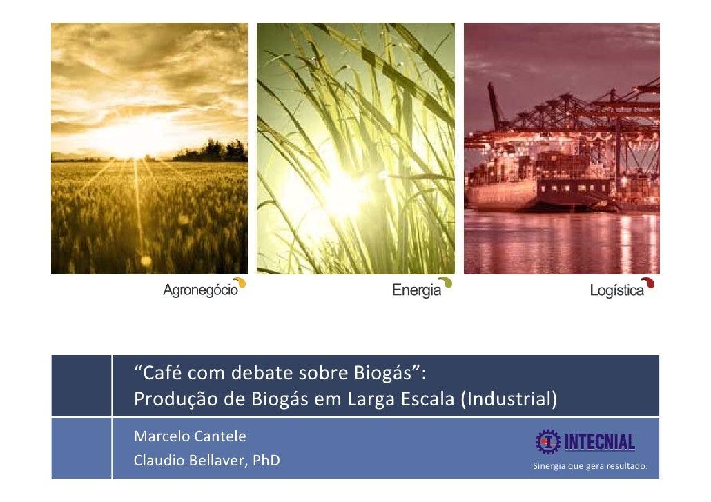 """""""Café comdebatesobreBiogás"""":ProduçãodeBiogásemLargaEscala(Industrial)Marcelo CanteleClaudioBellaver..."""