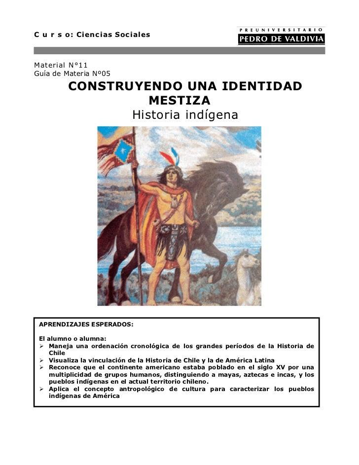 C u r s o: Ciencias SocialesMaterial N°11Guía de Materia Nº05         CONSTRUYENDO UNA IDENTIDAD                   MESTIZA...