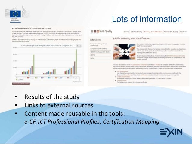 Lots of information•   Results of the study•   Links to external sources•   Content made reusable in the tools:    e-CF, I...