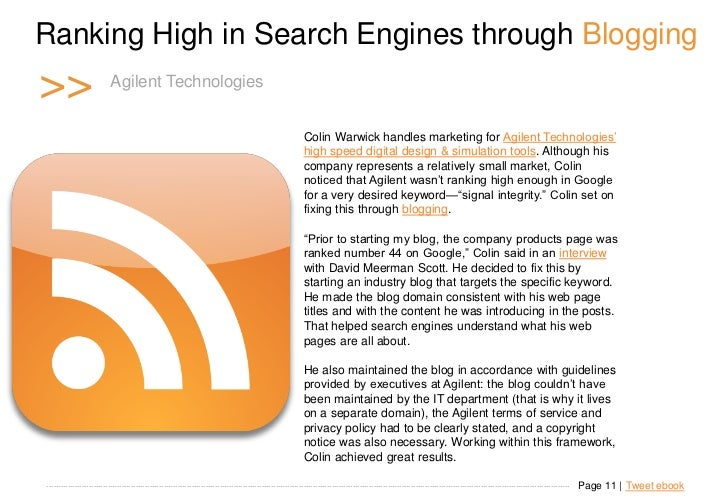 Ranking High in Search Engines through Blogging >>                      Agilent n t T e c h n o l o g i e s               ...