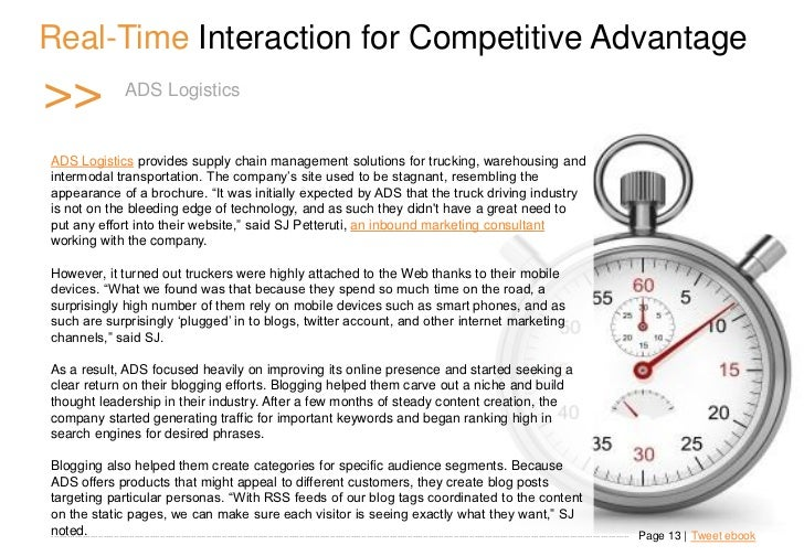 Real-Time Interaction for Competitive Advantage >>                       A D S Logistics t i c s                          ...