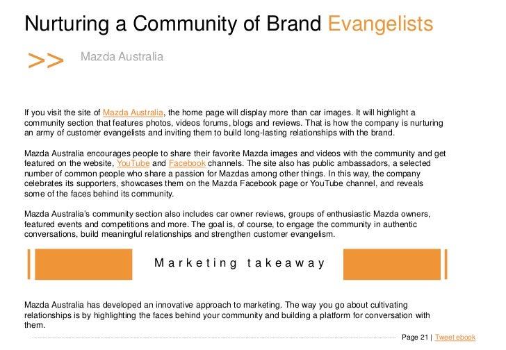 Nurturing a Community of Brand Evangelists >>                         Mazda Australia                            Mazda Aus...