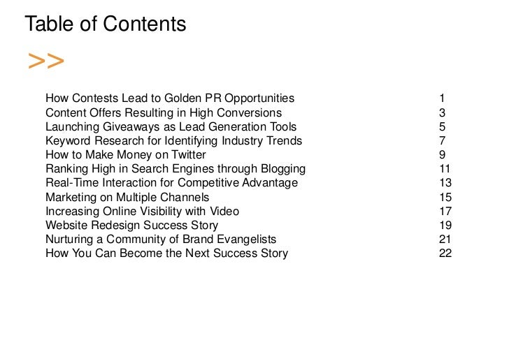 Table of Contents >>   How Contests Lead to Golden PR Opportunities       1    Content Offers Resulting in High Conversion...