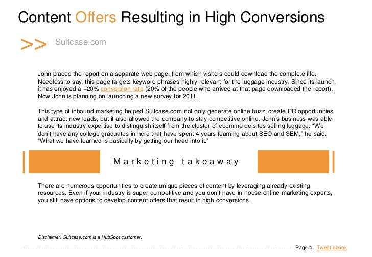Content Offers Resulting in High Conversions >>                     Suitcase.com             John placed the report on a s...