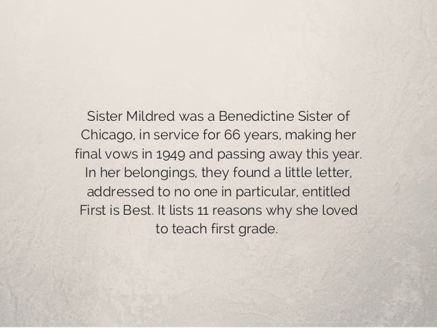 Sister Mildred was a Benedictine Sister of Chicago, in service for 66 years, making her final vows in 1949 and passing awa...
