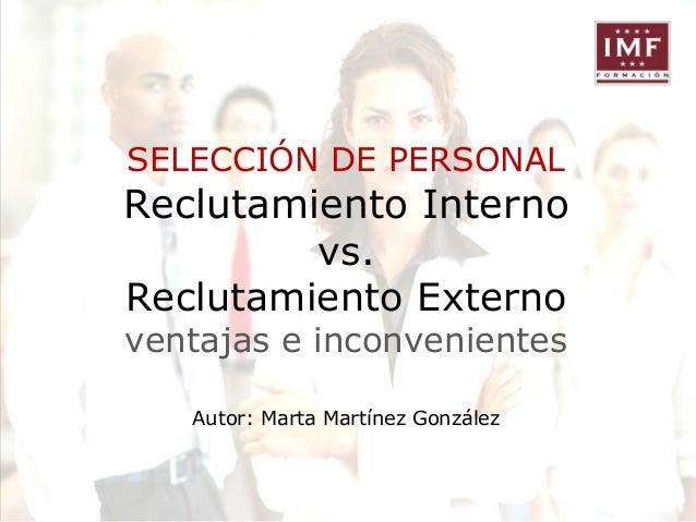 Selecci N De Personal I Reclutamiento Externo Vs