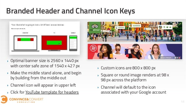 Branded Header and Channel Icon Keys 11 ‣ Optimal banner size is 2560 x 1440 px with center safe zone of 1540 x 427 px ‣ M...