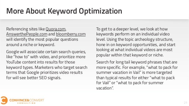 More About Keyword Optimization 21 Referencing sites like Quora.com, AnswerthePeople.com and bloomberry.com will identify ...
