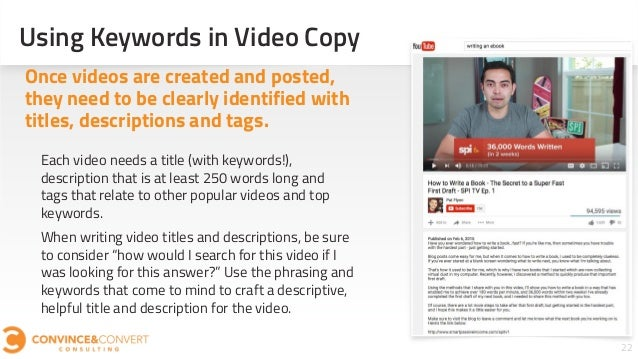 Using Keywords in Video Copy 22 Each video needs a title (with keywords!), description that is at least 250 words long and...