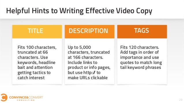 23 Helpful Hints to Writing Effective Video Copy Fits 100 characters, truncated at 66 characters. Use keywords, headline b...
