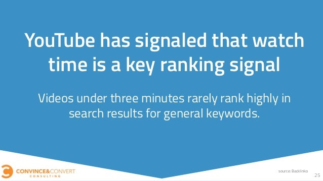 Videos under three minutes rarely rank highly in search results for general keywords. 25 YouTube has signaled that watch t...