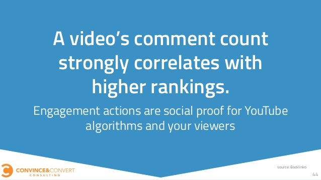 Engagement actions are social proof for YouTube algorithms and your viewers 44 A video's comment count strongly correlates...
