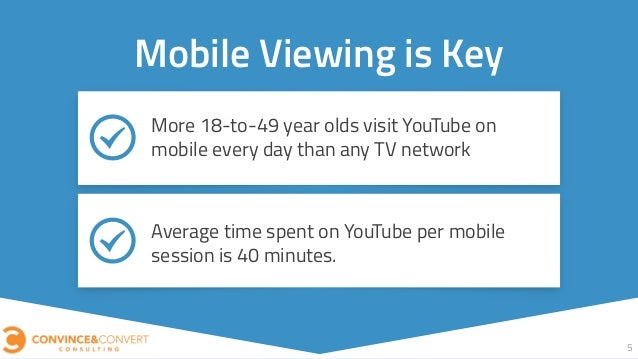 5 Mobile Viewing is Key More 18-to-49 year olds visit YouTube on mobile every day than any TV network Average time spent o...