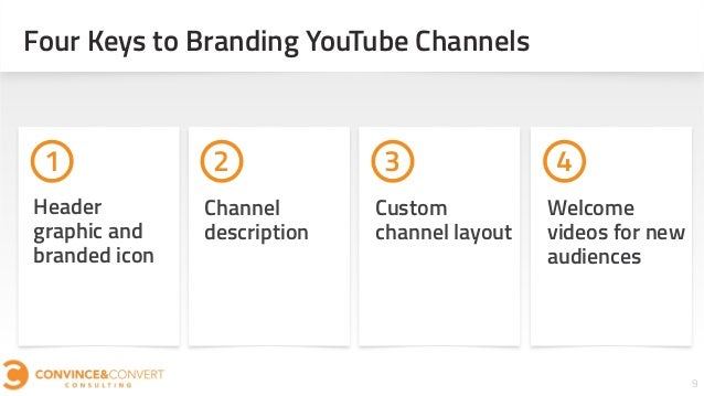 9 Four Keys to Branding YouTube Channels 1 2 3 4 Channel description Header graphic and branded icon Welcome videos for ne...