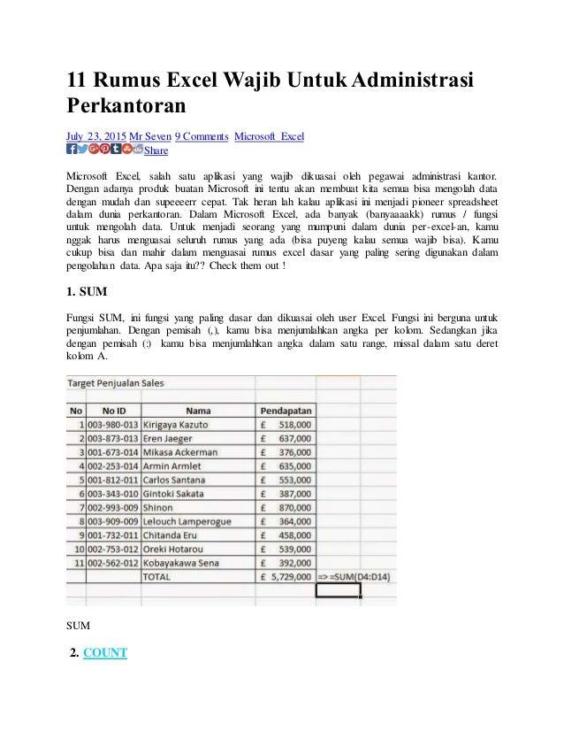 11 Rumus Excel Wajib Untuk Administrasi Perkantoran July 23, 2015 Mr Seven 9 Comments Microsoft Excel Share Microsoft Exce...
