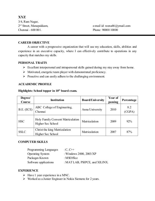 Resume Examples Sample Resume For Fresher Software Engineer Objectives  For Resume For Civil Engineers Freshers Career