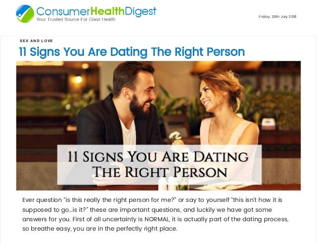 How to find out if you are dating the right person