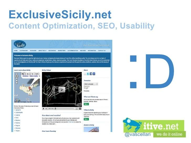 @vascellari ExclusiveSicily.net Content Optimization, SEO, Usability : D