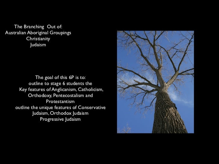 The Branching Out of:Australian Aboriginal Groupings          Christianity            Judaism                 The goal of ...
