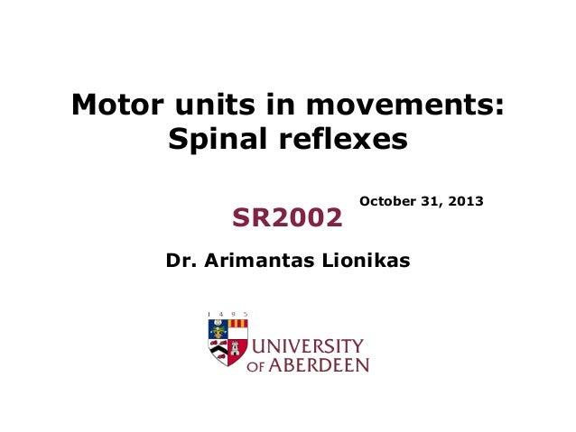 Motor units in movements: Spinal reflexes SR2002  October 31, 2013  Dr. Arimantas Lionikas