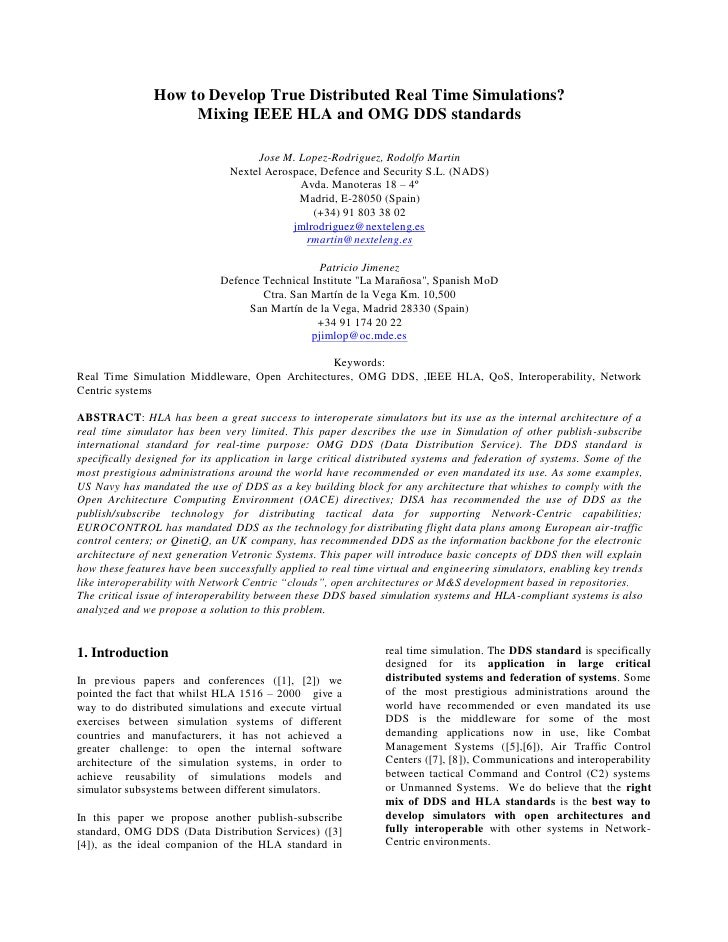 How to Develop True Distributed Real Time Simulations?                    Mixing IEEE HLA and OMG DDS standards           ...