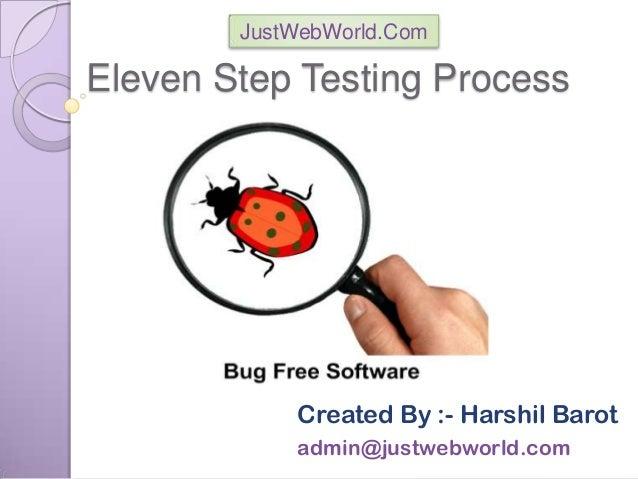 Eleven Step Testing Process Created By :- Harshil Barot admin@justwebworld.com JustWebWorld.Com