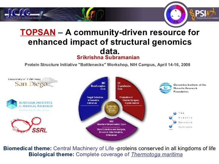 TOPSAN  –  A community-driven resource for enhanced impact of structural genomics data. Protein Structure Initiative &quot...
