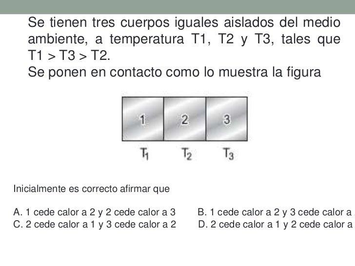 Se tienen tres cuerpos iguales aislados del medio ambiente, a temperatura T1, T2 y T3, tales que              T1 > T3 > T2...