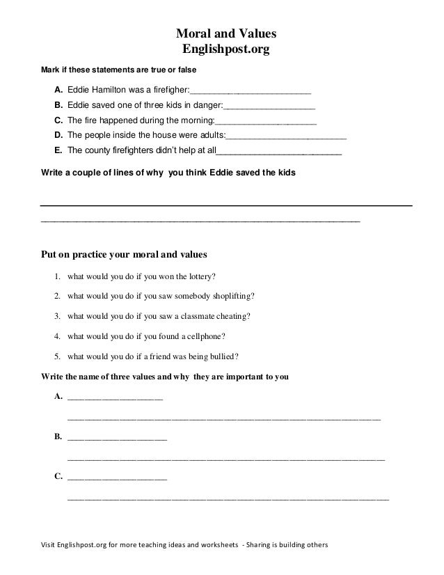Moral And Values Worksheet Englishpost