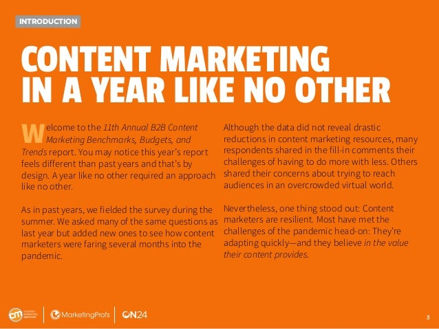 11th Annual B2B Content Marketing Benchmarks, Budgets, and Trends: Insights for 2021 Slide 3