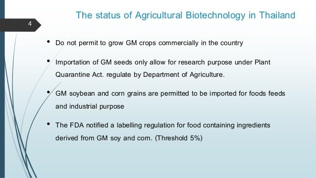 Country Status Reports on Agricultural Biotechnology - Thailand