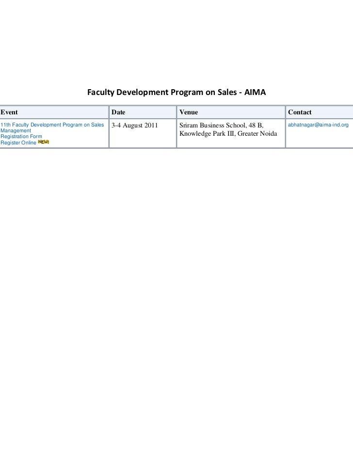 Faculty Development Program on Sales - AIMA<br />EventDate VenueContact 11th Faculty Development Program on Sales Manageme...