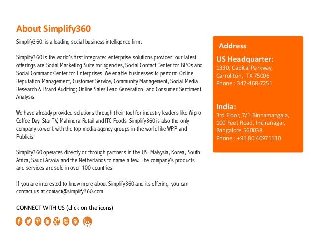 Simplify360, is a leading social business intelligence firm. Simplify360 is the world's first integrated enterprise soluti...