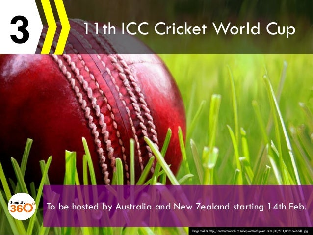3 Image credits: http://sandtonchronicle.co.za/wp-content/uploads/sites/33/2014/07/cricket-ball1.jpg 11th ICC Cricket Worl...