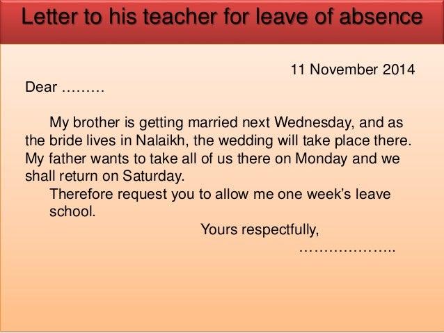 Application For Leave Leave Application Letter Format For Brother