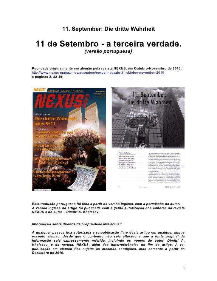 11. September: Die dritte Wahrheit  11 de Setembro - a terceira verdade.                              (versão portuguesa)P...