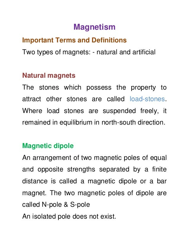 11th Physics Notes - Magnetism