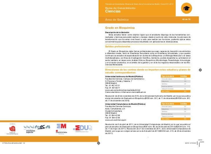 Títulaciones Universitarias Oficiales de Grado de la Comunidad de Madrid. Curso 2011-2012                                 ...
