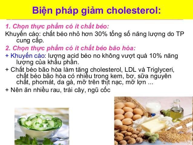 Biện pháp giảm cholesterol: 1. Chọn thực phẩm có ít chất béo: Khuyến cáo: chất béo nhỏ hơn 30% tổng số năng lượng do TP cu...