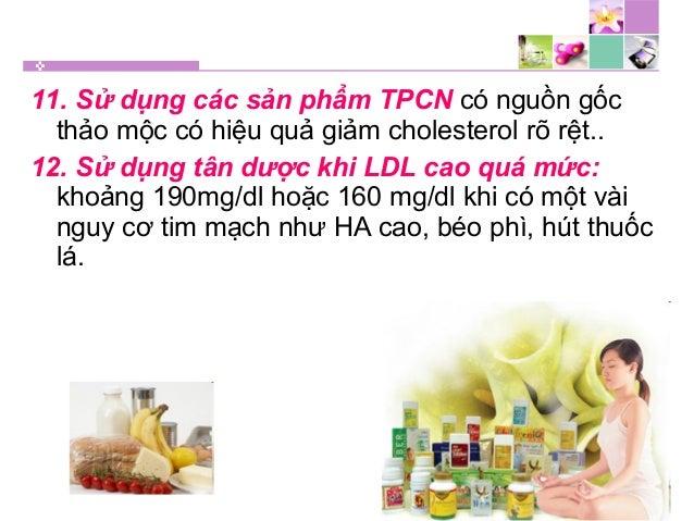 11. Sử dụng các sản phẩm TPCN có nguồn gốc thảo mộc có hiệu quả giảm cholesterol rõ rệt.. 12. Sử dụng tân dược khi LDL cao...