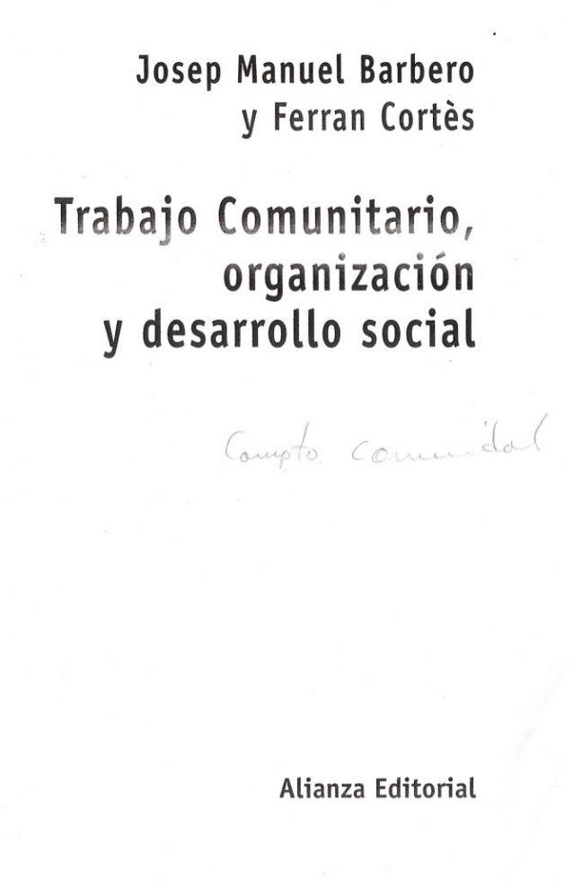 11) trabajo comunitario, organización y desarrollo social