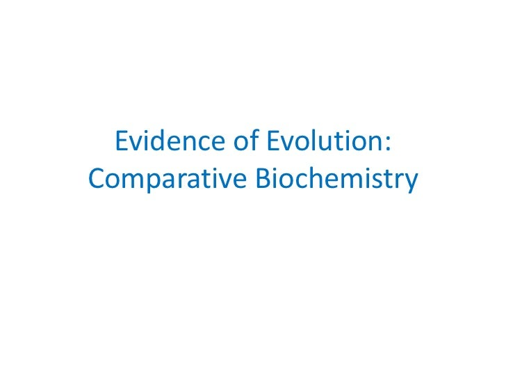 Evidence of Evolution:Comparative Biochemistry
