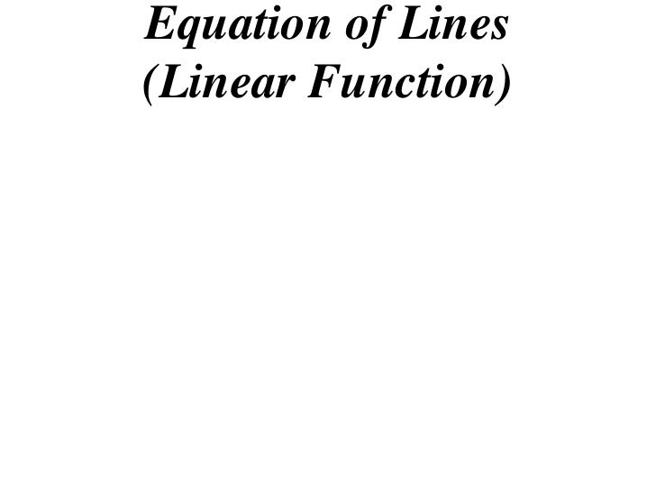 Equation of Lines(Linear Function)