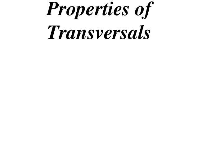 Properties ofTransversals