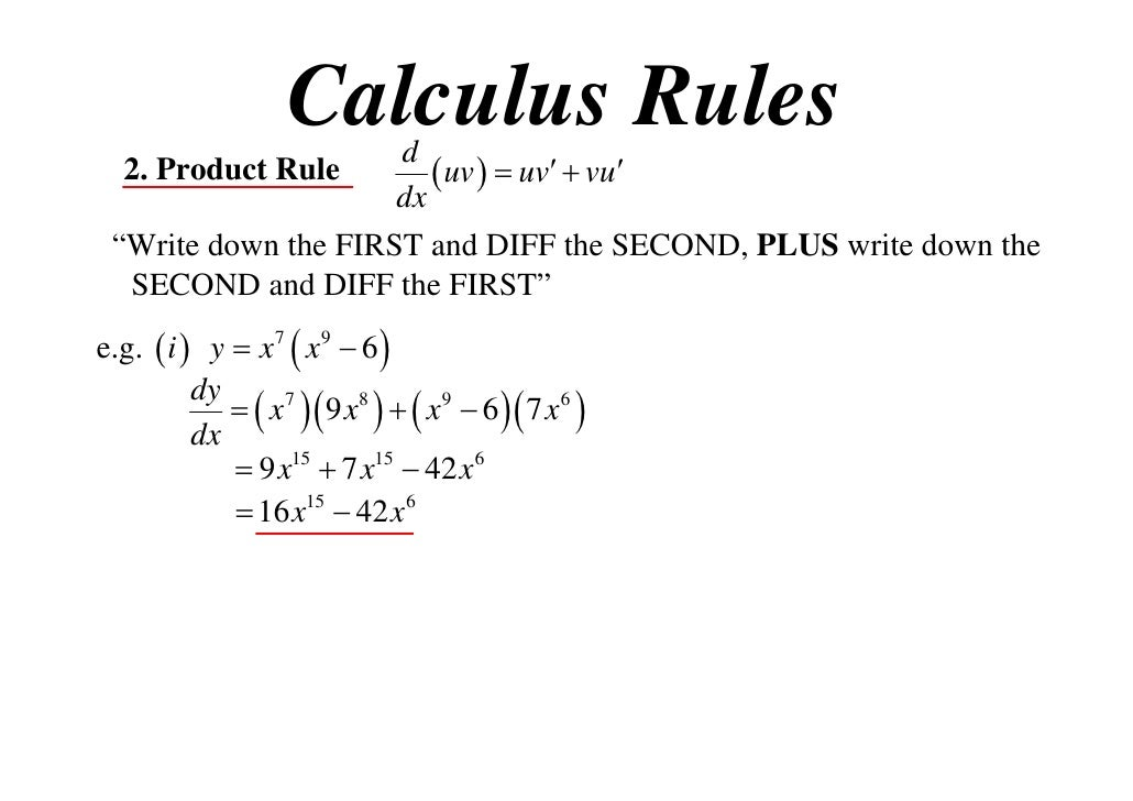 rule calculus t09 x1 rules uv dx 11x1 vu dy 2x